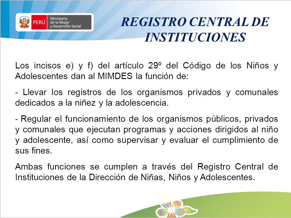 Los incisos e) y f) del artículo 29º del Código de los Niños y Adolescentes dan al MIMDES la función de: - Llevar los registros de los organismos priv
