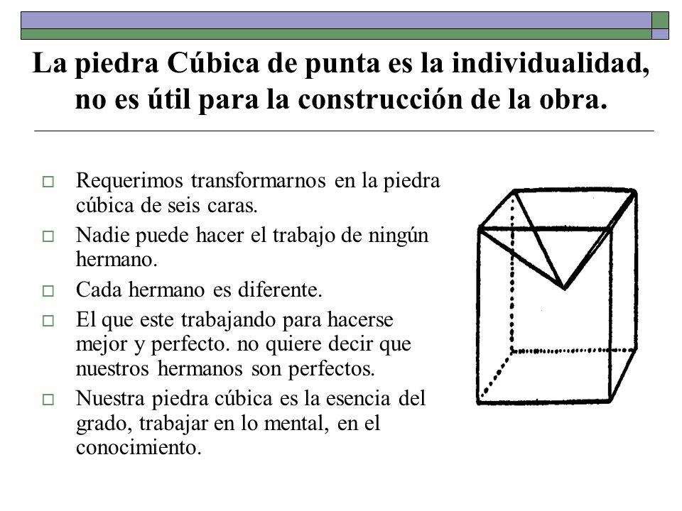 La piedra Cúbica de punta es la individualidad, no es útil para la construcción de la obra. Requerimos transformarnos en la piedra cúbica de seis cara