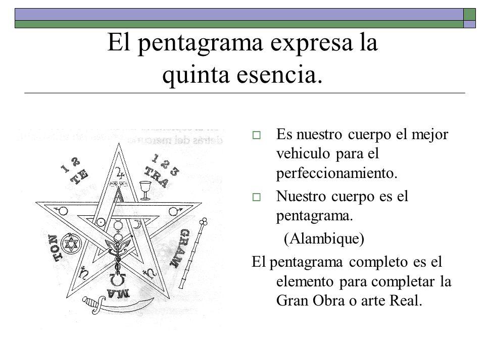 El pentagrama expresa la quinta esencia. Es nuestro cuerpo el mejor vehiculo para el perfeccionamiento. Nuestro cuerpo es el pentagrama. (Alambique) E