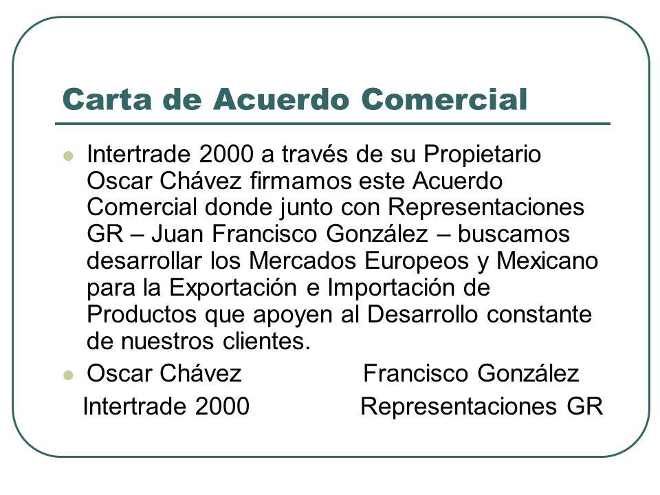 Carta de Acuerdo Comercial Intertrade 2000 a través de su Propietario Oscar Chávez firmamos este Acuerdo Comercial donde junto con Representaciones GR – Juan Francisco González – buscamos desarrollar los Mercados Europeos y Mexicano para la Exportación e Importación de Productos que apoyen al Desarrollo constante de nuestros clientes.