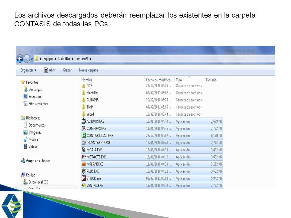 debera Los archivos descargados deberán reemplazar los existentes en la carpeta CONTASIS de todas las PCs.
