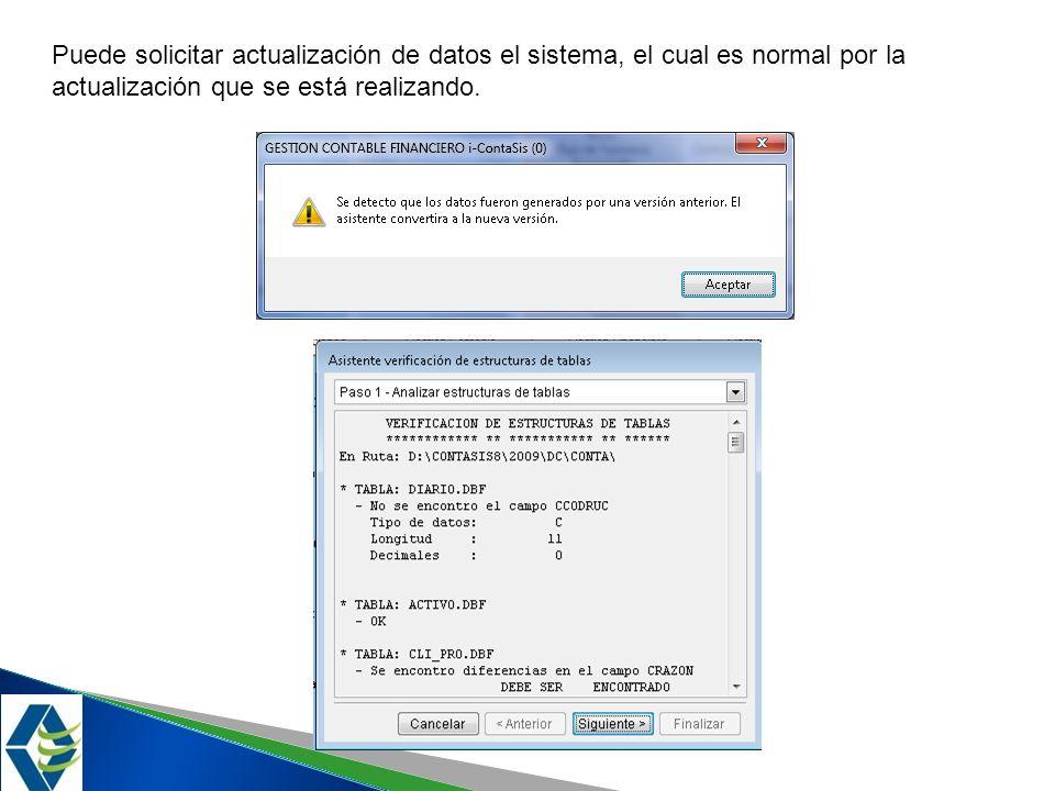 Puede solicitar actualización de datos el sistema, el cual es normal por la actualización que se está realizando.
