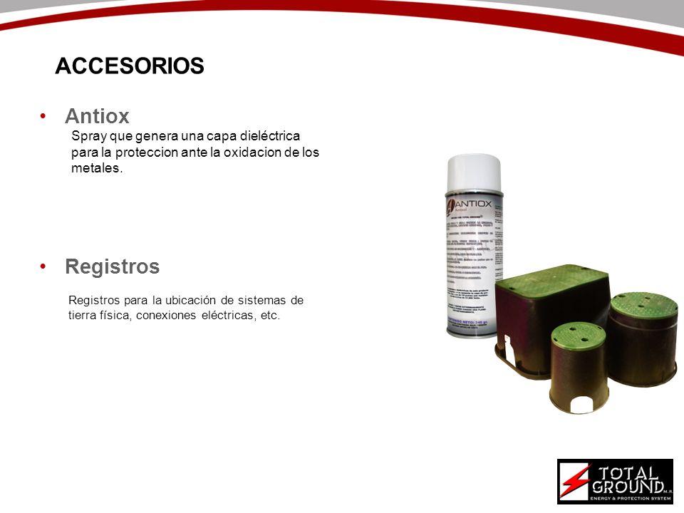 Antiox Registros ACCESORIOS Spray que genera una capa dieléctrica para la proteccion ante la oxidacion de los metales. Registros para la ubicación de