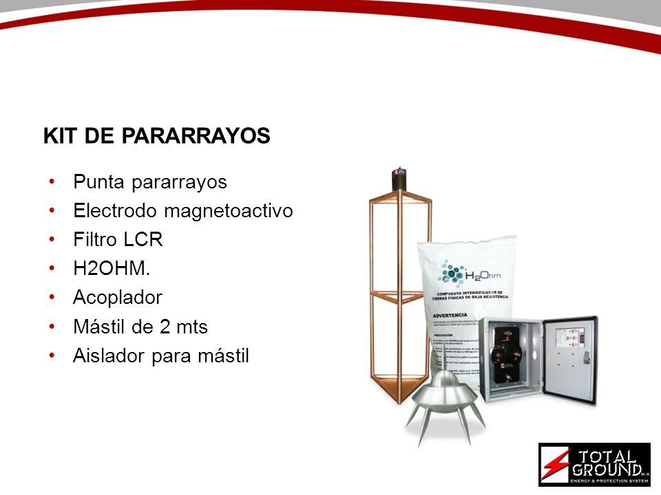 Punta pararrayos Electrodo magnetoactivo Filtro LCR H2OHM. Acoplador Mástil de 2 mts Aislador para mástil KIT DE PARARRAYOS