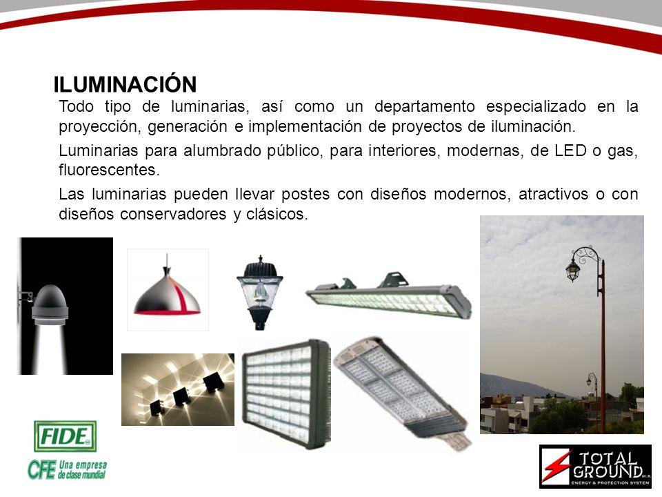 Todo tipo de luminarias, así como un departamento especializado en la proyección, generación e implementación de proyectos de iluminación. Luminarias