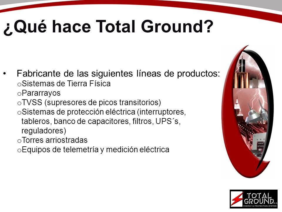 ¿Qué hace Total Ground? Fabricante de las siguientes líneas de productos: o Sistemas de Tierra Física o Pararrayos o TVSS (supresores de picos transit
