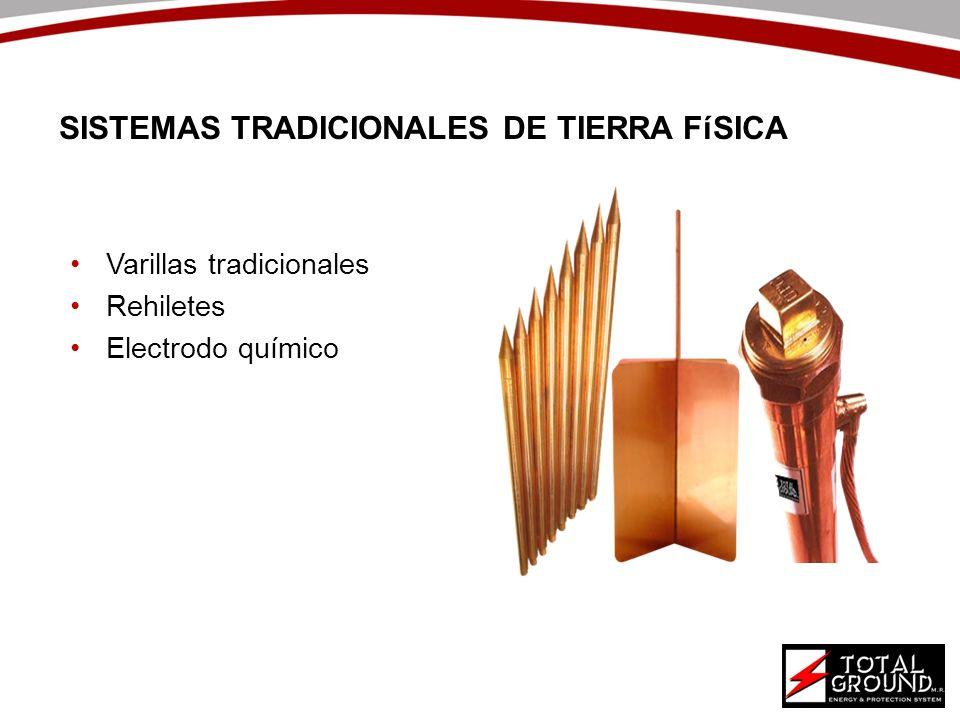 Varillas tradicionales Rehiletes Electrodo químico SISTEMAS TRADICIONALES DE TIERRA FíSICA