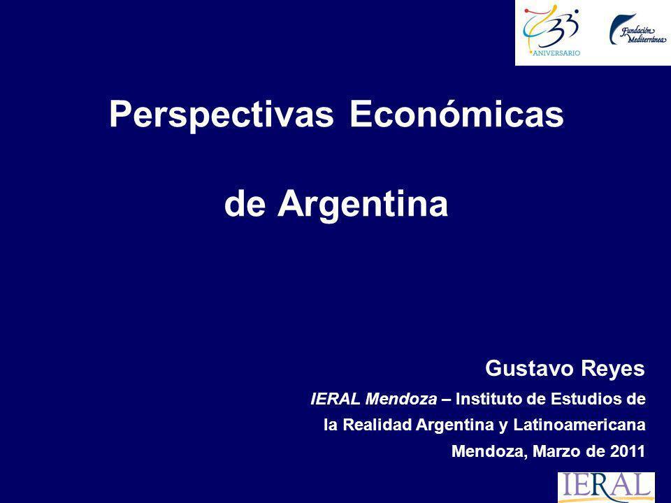 Perspectivas Económicas de Argentina Gustavo Reyes IERAL Mendoza – Instituto de Estudios de la Realidad Argentina y Latinoamericana Mendoza, Marzo de 2011