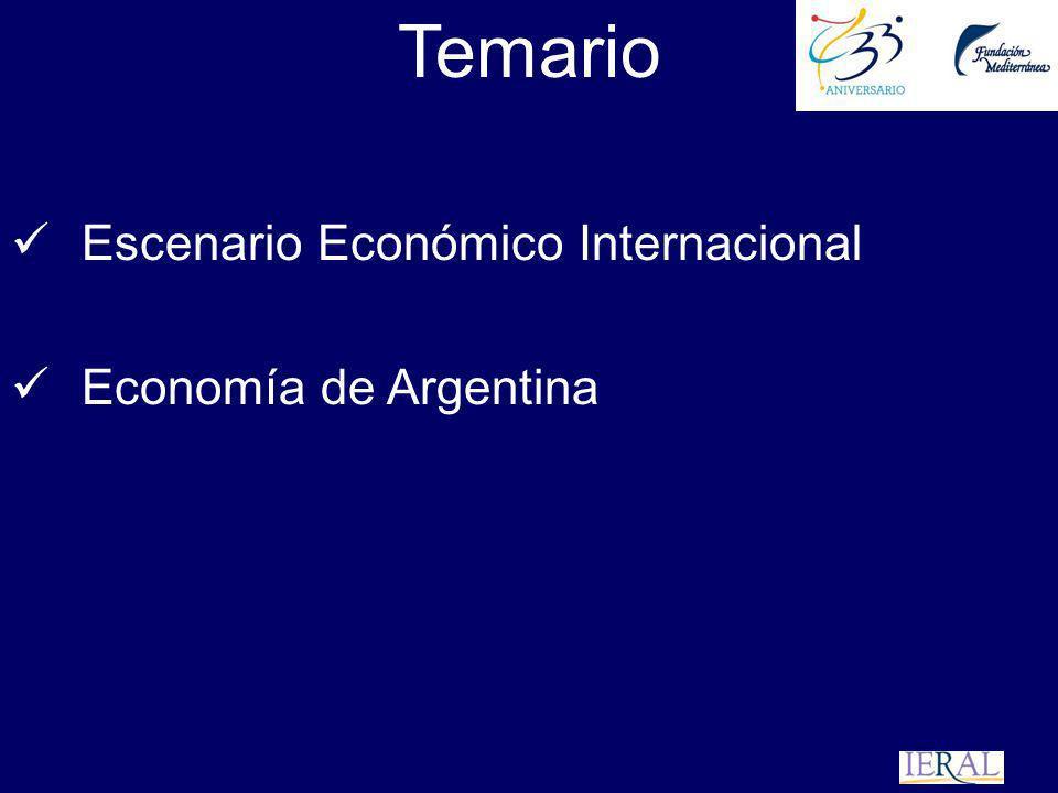 Temario Escenario Económico Internacional Economía de Argentina