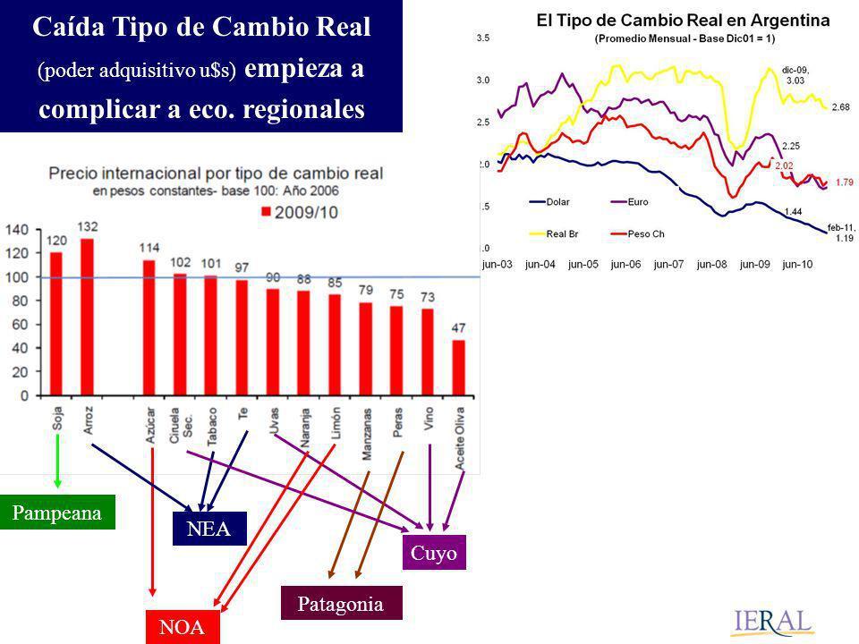 Cuyo Patagonia NEA NOA Pampeana Caída Tipo de Cambio Real (poder adquisitivo u$s) empieza a complicar a eco.