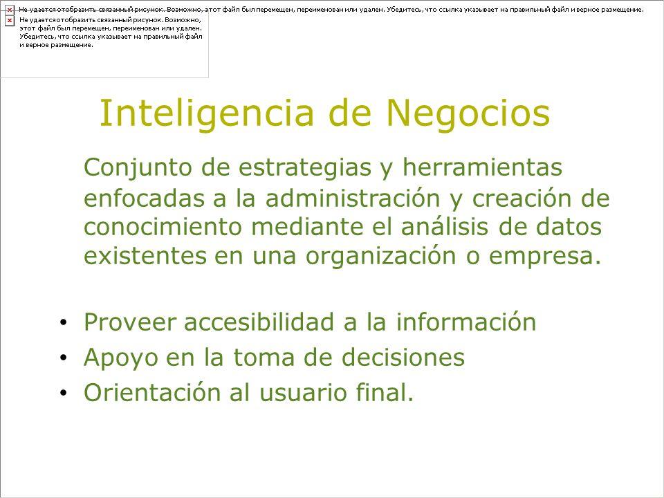 Inteligencia de Negocios Conjunto de estrategias y herramientas enfocadas a la administración y creación de conocimiento mediante el análisis de datos existentes en una organización o empresa.