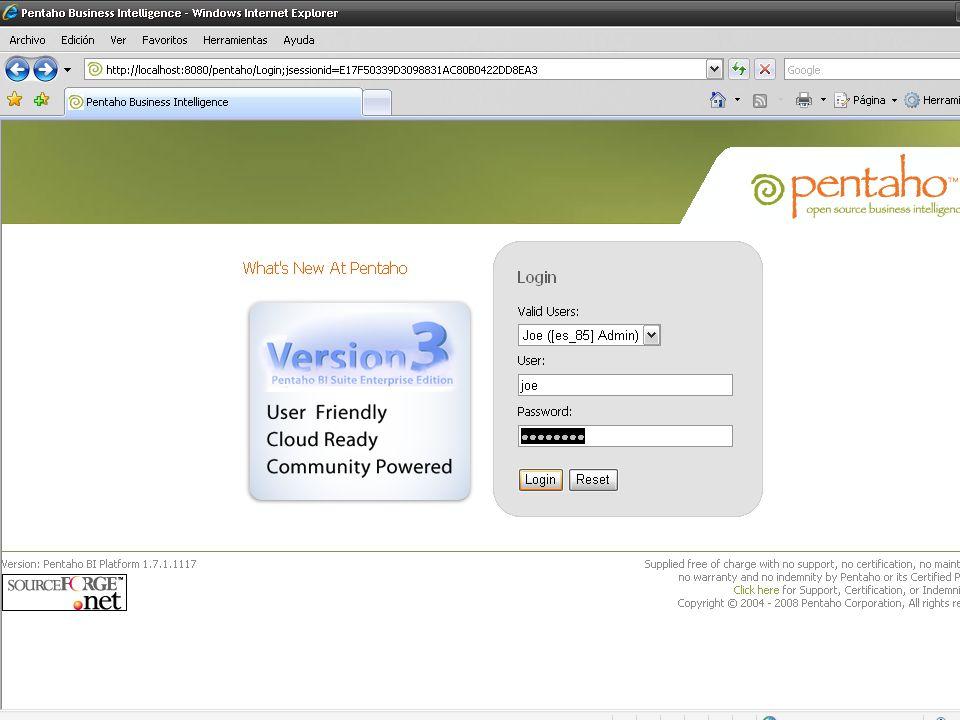 ENLACES http://www.pentaho.com http://reporting.pentaho.org http://mondrian.pentaho.org http://kettle.pentaho.org http://wiki.pentaho.com