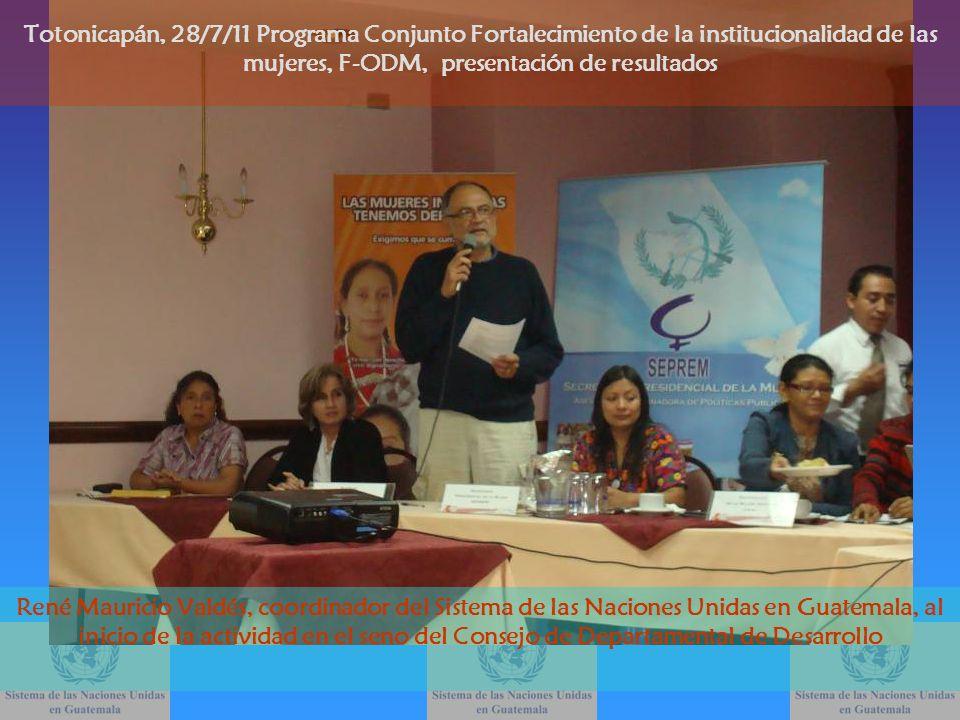 René Mauricio Valdés, coordinador del Sistema de las Naciones Unidas en Guatemala, al inicio de la actividad en el seno del Consejo de Departamental d