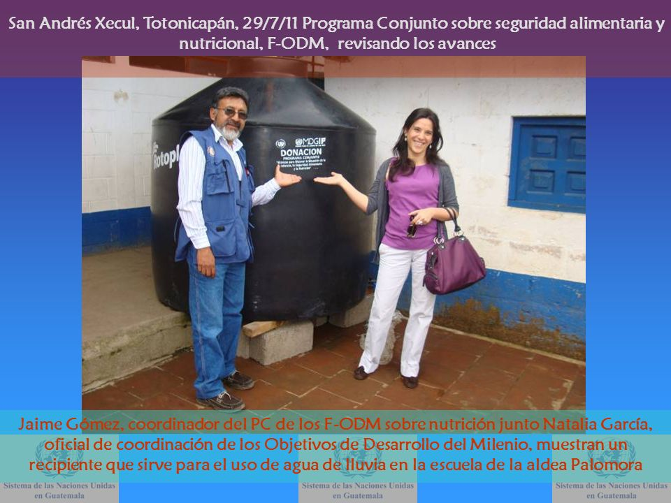 Jaime Gómez, coordinador del PC de los F-ODM sobre nutrición junto Natalia García, oficial de coordinación de los Objetivos de Desarrollo del Milenio,