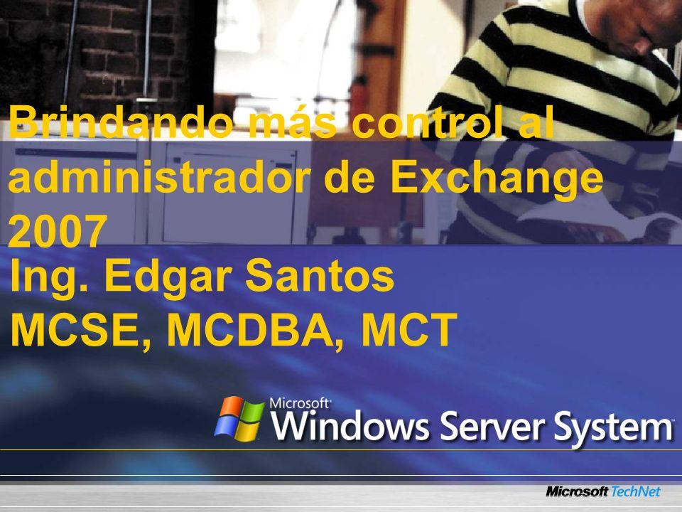 Resumen de sesión Administradores tienen más control Los roles de servidor pueden ser agregados La Consola de Administración de Exchange El Shell de Administración de Exchange Realizando scripts con Shell Reportes usando Shell