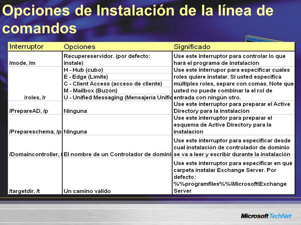 Opciones de Instalación de la línea de comandos
