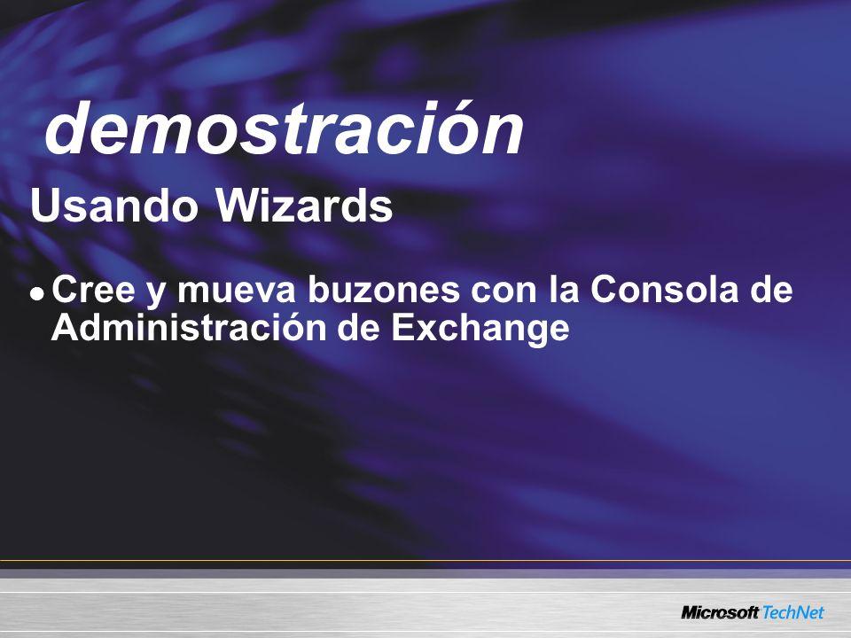 Demo Usando Wizards Cree y mueva buzones con la Consola de Administración de Exchange demostración