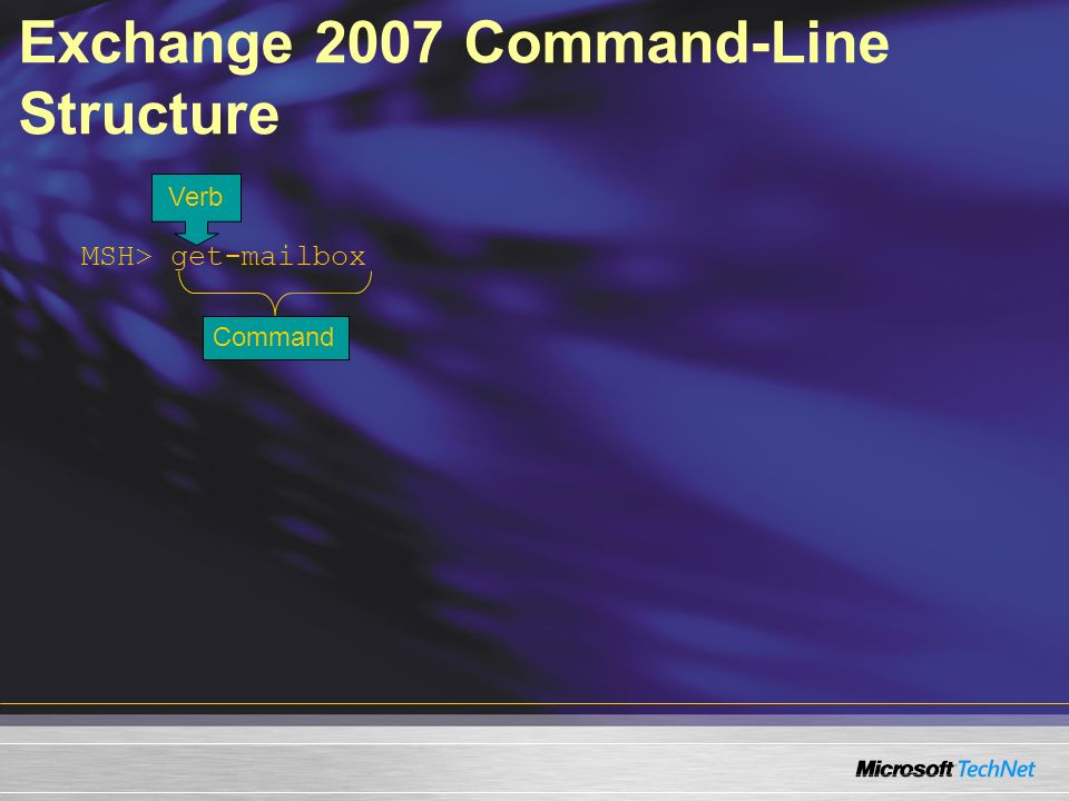 MSH> get-mailbox Verb Command Exchange 2007 Command-Line Structure