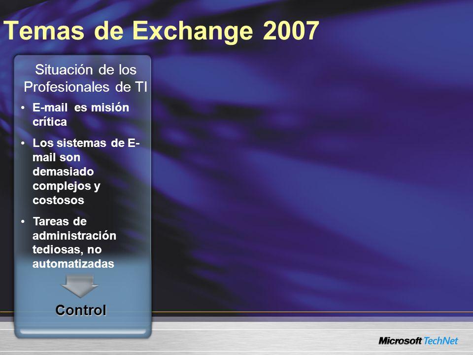 Temas de Exchange 2007 E-mail es misión crítica Los sistemas de E- mail son demasiado complejos y costosos Tareas de administración tediosas, no autom