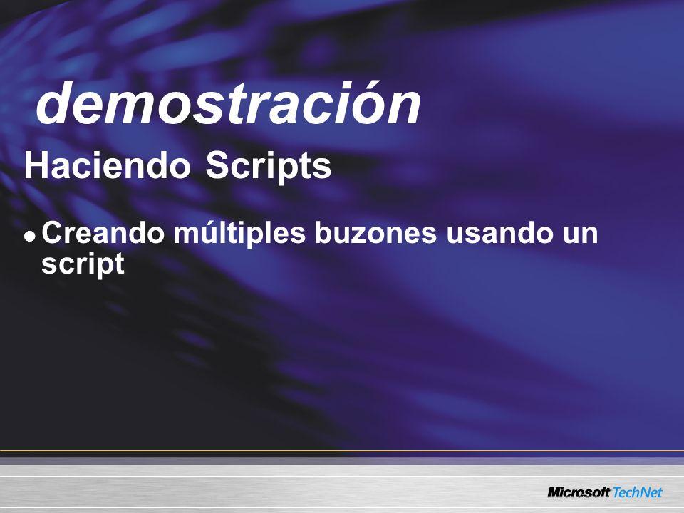 Demo Haciendo Scripts Creando múltiples buzones usando un script demostración