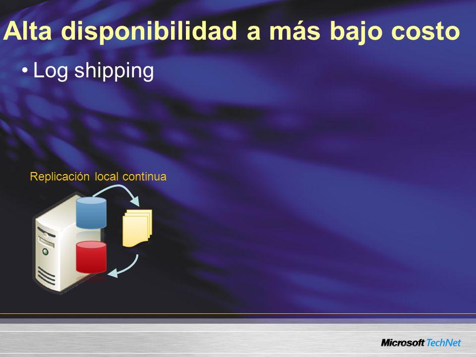 Alta disponibilidad a más bajo costo Replicación local continua Log shipping