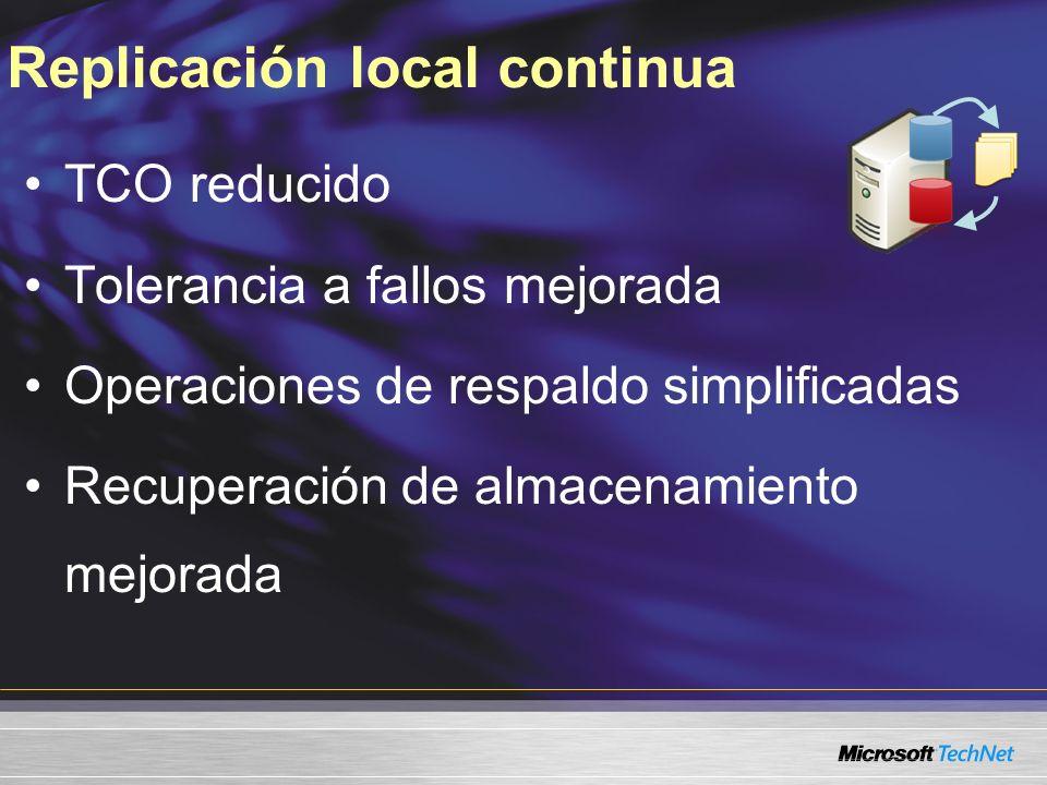 TCO reducido Tolerancia a fallos mejorada Operaciones de respaldo simplificadas Recuperación de almacenamiento mejorada