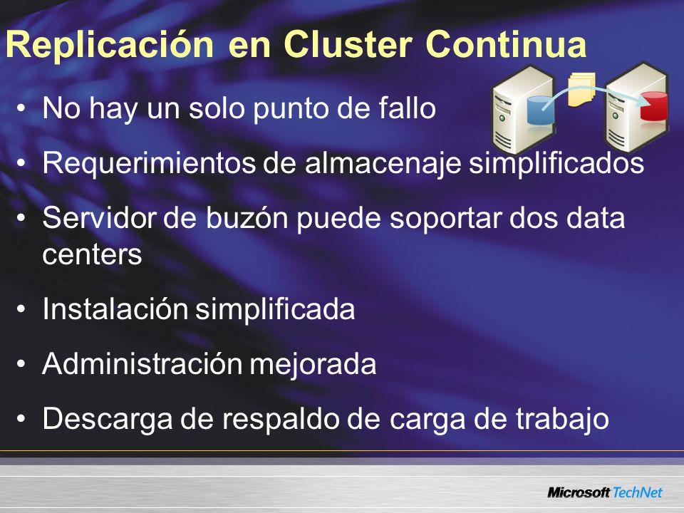 Replicación en Cluster Continua No hay un solo punto de fallo Requerimientos de almacenaje simplificados Servidor de buzón puede soportar dos data cen