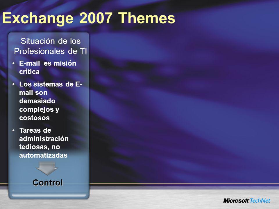 Exchange 2007 ThemesControl E-mail es misión crítica Los sistemas de E- mail son demasiado complejos y costosos Tareas de administración tediosas, no