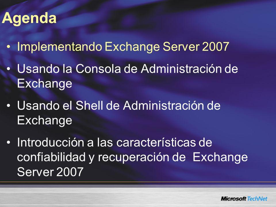Demo Usando el Shell de Administración de Exchange Mueva Buzones usando el Shell de Administración de Exchange Use el Shell de Administración de Exchange para crear un nuevo almacenaje de Correo.