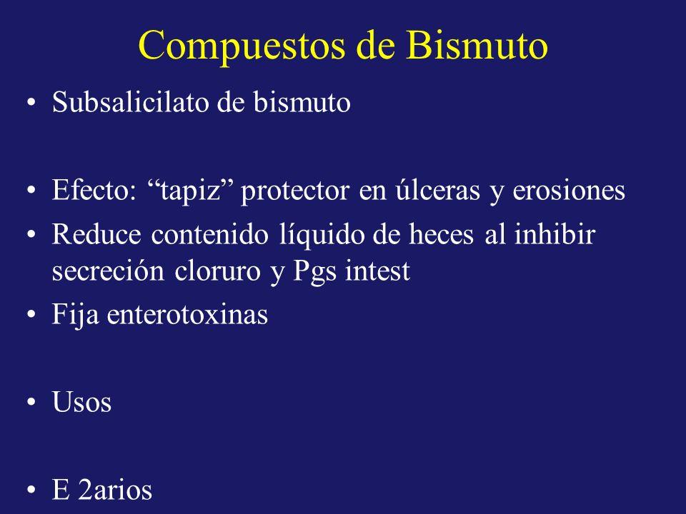 Compuestos de Bismuto Subsalicilato de bismuto Efecto: tapiz protector en úlceras y erosiones Reduce contenido líquido de heces al inhibir secreción c