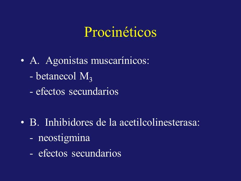 Procinéticos A. Agonistas muscarínicos: - betanecol M 3 - efectos secundarios B. Inhibidores de la acetilcolinesterasa: - neostigmina - efectos secund