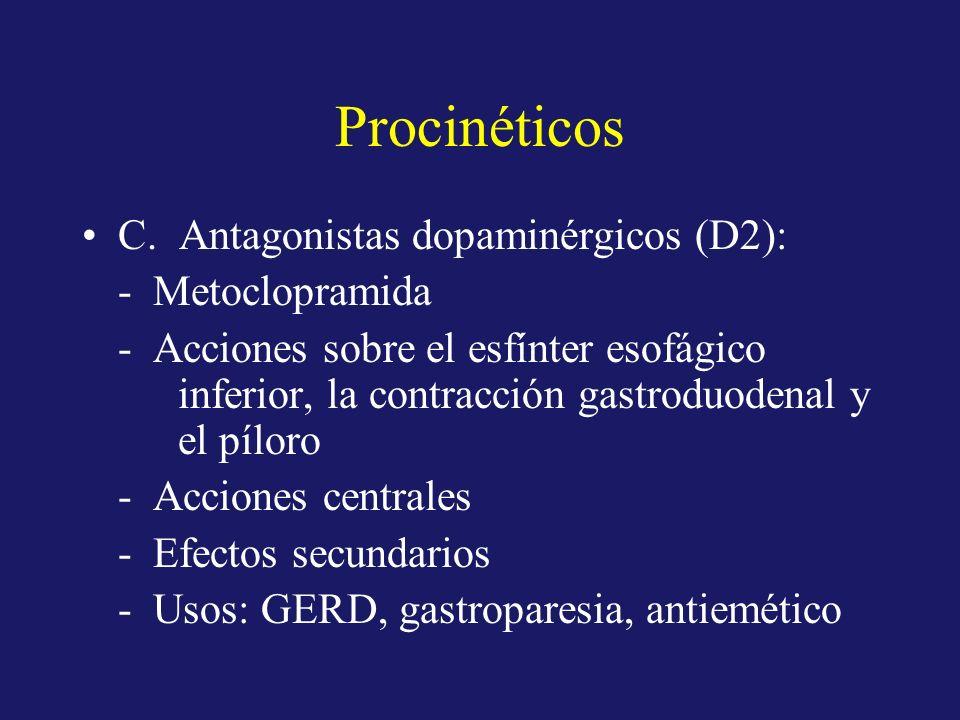 Procinéticos C. Antagonistas dopaminérgicos (D2): - Metoclopramida - Acciones sobre el esfínter esofágico inferior, la contracción gastroduodenal y el