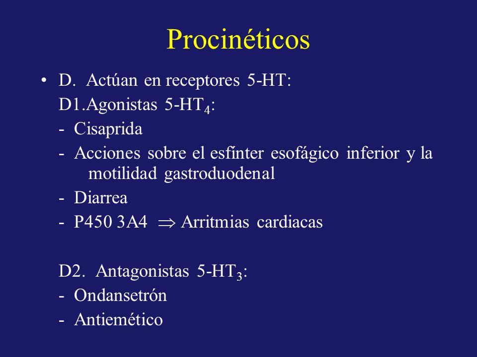 Procinéticos D. Actúan en receptores 5-HT: D1.Agonistas 5-HT 4 : - Cisaprida - Acciones sobre el esfínter esofágico inferior y la motilidad gastroduod
