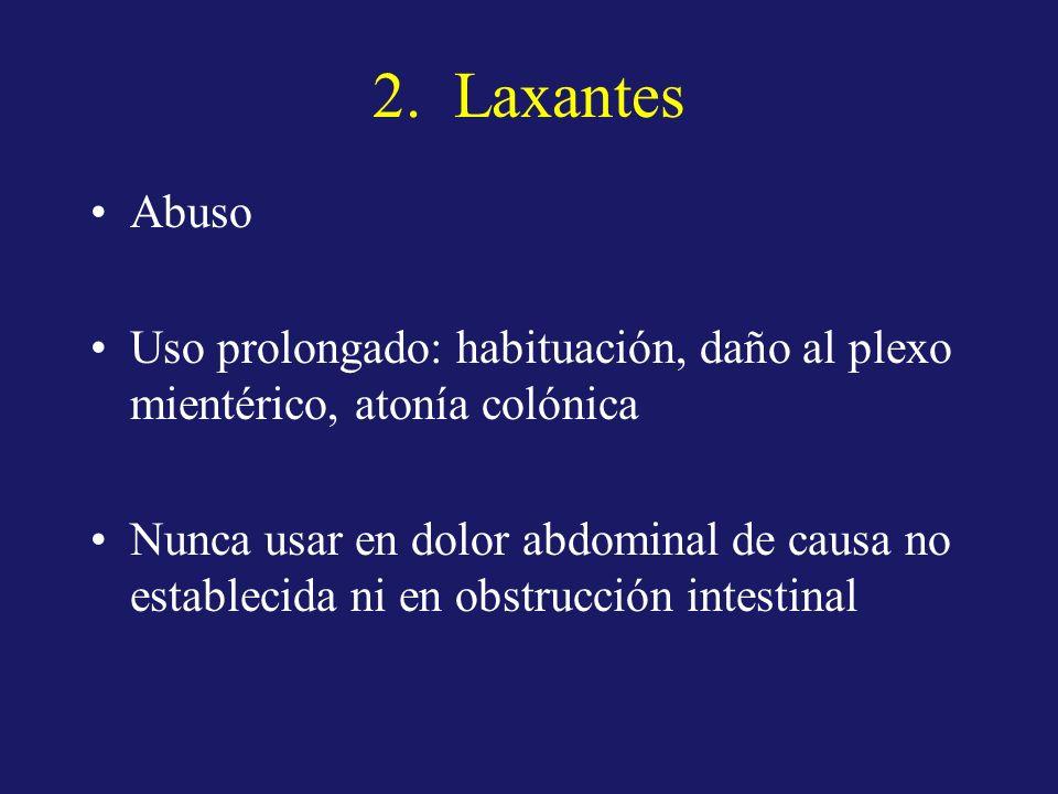 2. Laxantes Abuso Uso prolongado: habituación, daño al plexo mientérico, atonía colónica Nunca usar en dolor abdominal de causa no establecida ni en o