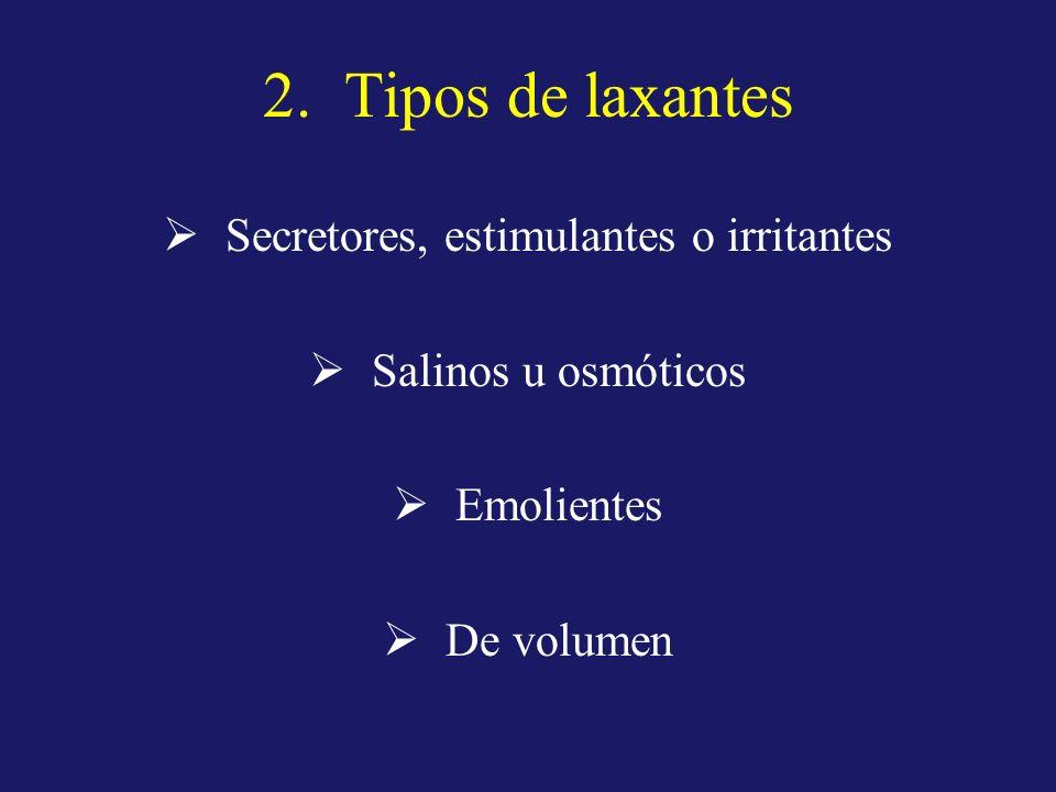 2. Tipos de laxantes Secretores, estimulantes o irritantes Salinos u osmóticos Emolientes De volumen
