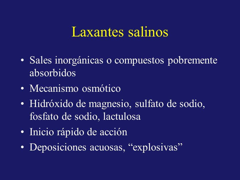 Laxantes salinos Sales inorgánicas o compuestos pobremente absorbidos Mecanismo osmótico Hidróxido de magnesio, sulfato de sodio, fosfato de sodio, la