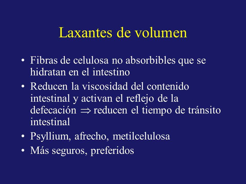 Laxantes de volumen Fibras de celulosa no absorbibles que se hidratan en el intestino Reducen la viscosidad del contenido intestinal y activan el refl
