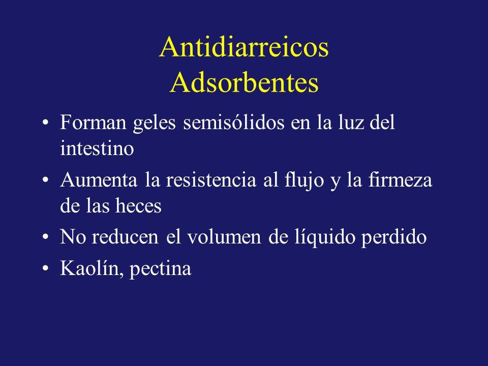 Antidiarreicos Adsorbentes Forman geles semisólidos en la luz del intestino Aumenta la resistencia al flujo y la firmeza de las heces No reducen el vo