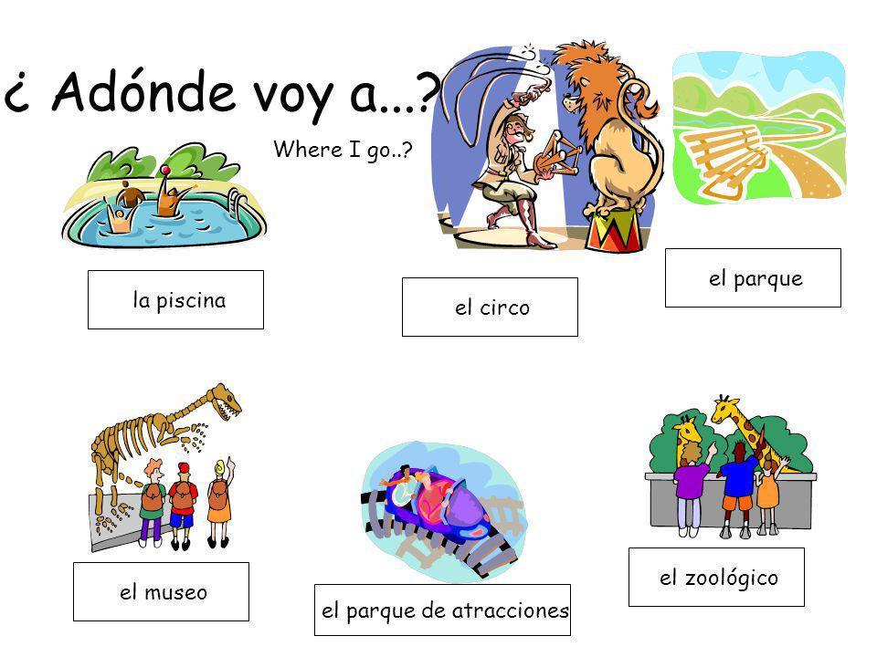 la piscina el zoológico el parque el circo el parque de atracciones el museo ¿ Adónde voy a...? Where I go..?