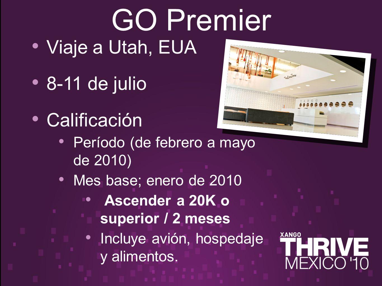 Viaje a Utah, EUA 8-11 de julio Calificación Período (de febrero a mayo de 2010) Mes base; enero de 2010 Ascender a 20K o superior / 2 meses Incluye avión, hospedaje y alimentos.