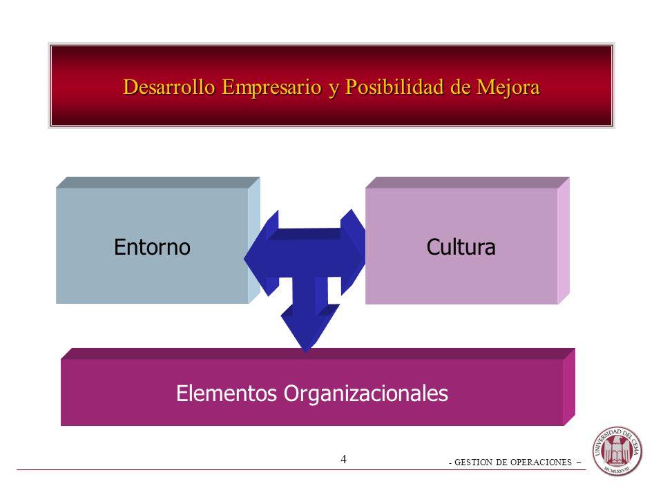 - GESTION DE OPERACIONES – 4 Desarrollo Empresario y Posibilidad de Mejora Entorno Elementos Organizacionales Cultura