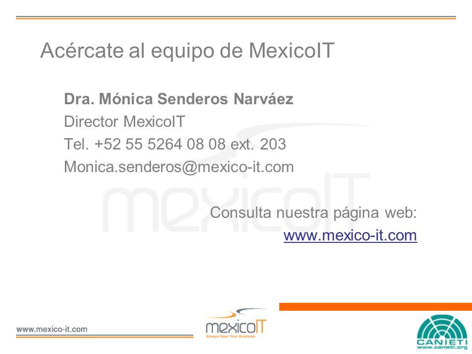 Acércate al equipo de MexicoIT Dra. Mónica Senderos Narváez Director MexicoIT Tel.
