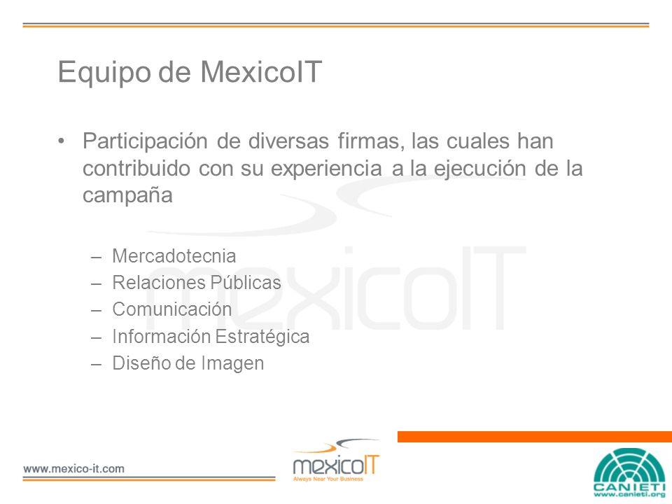 Equipo de MexicoIT Participación de diversas firmas, las cuales han contribuido con su experiencia a la ejecución de la campaña –Mercadotecnia –Relaciones Públicas –Comunicación –Información Estratégica –Diseño de Imagen
