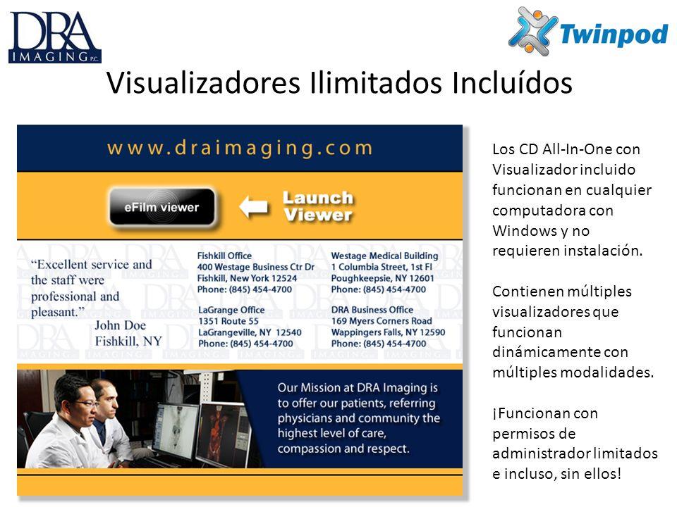 Visualizadores Ilimitados Incluídos Los CD All-In-One con Visualizador incluido funcionan en cualquier computadora con Windows y no requieren instalación.