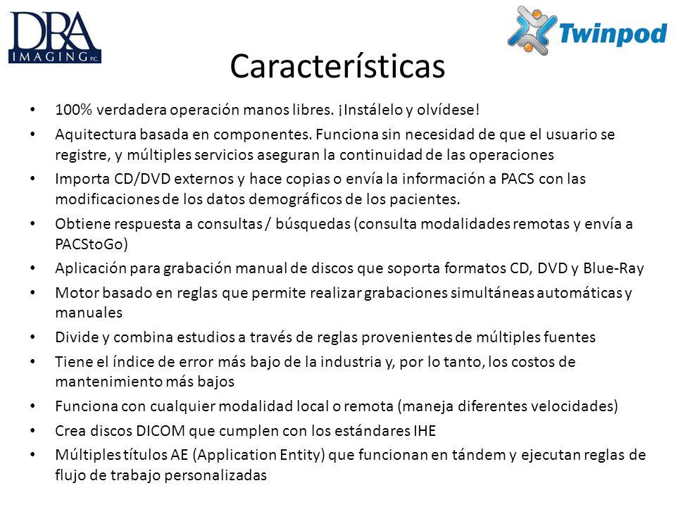 Características Filtra selectivamente información tal como errores en facturas o solicitudes mediante filtros de palabras clave DICOM Acepta múltiples aplicaciones para grabación de discos – Epson, Rimage, Duet – Gracador de CD/DVD y Blue-ray interno y externo El mejor visualizador de la industria, eFilm Viewer, en todos los CD – Le permite crear perfiles del visualizador con diseño adaptado específicamente a su negocio y distribuirlos en todos los CD – Protocolos de clasificación, 3D, reconstrucción multiplanar, mapa de bordes, impresión DICOM, exportación DICOM y mucho más Funciona con cualquier visualizador DICOM.