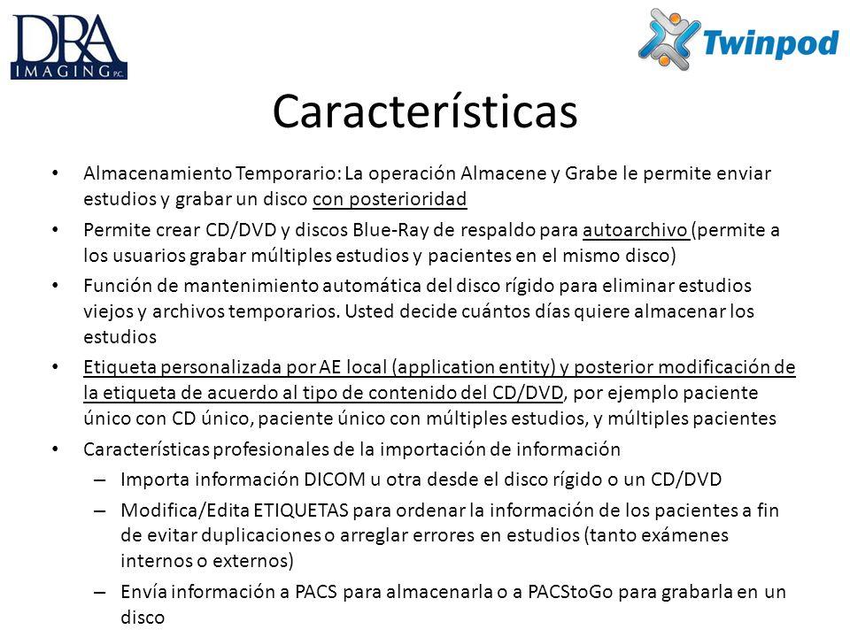 Le permite importar CD DICOM u otros que no sean de DRA Imaging, o imágenes desde un disco rígido y enviarlas a PACSToGo para crear un CD DRA Imaging perfecto, con su visualizador preferido incorporado.