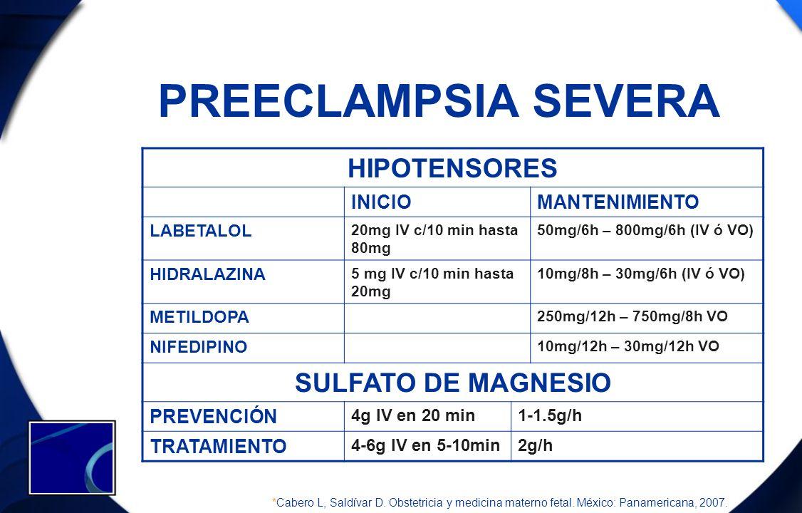 PREECLAMPSIA SEVERA HIPOTENSORES INICIOMANTENIMIENTO LABETALOL 20mg IV c/10 min hasta 80mg 50mg/6h – 800mg/6h (IV ó VO) HIDRALAZINA 5 mg IV c/10 min h