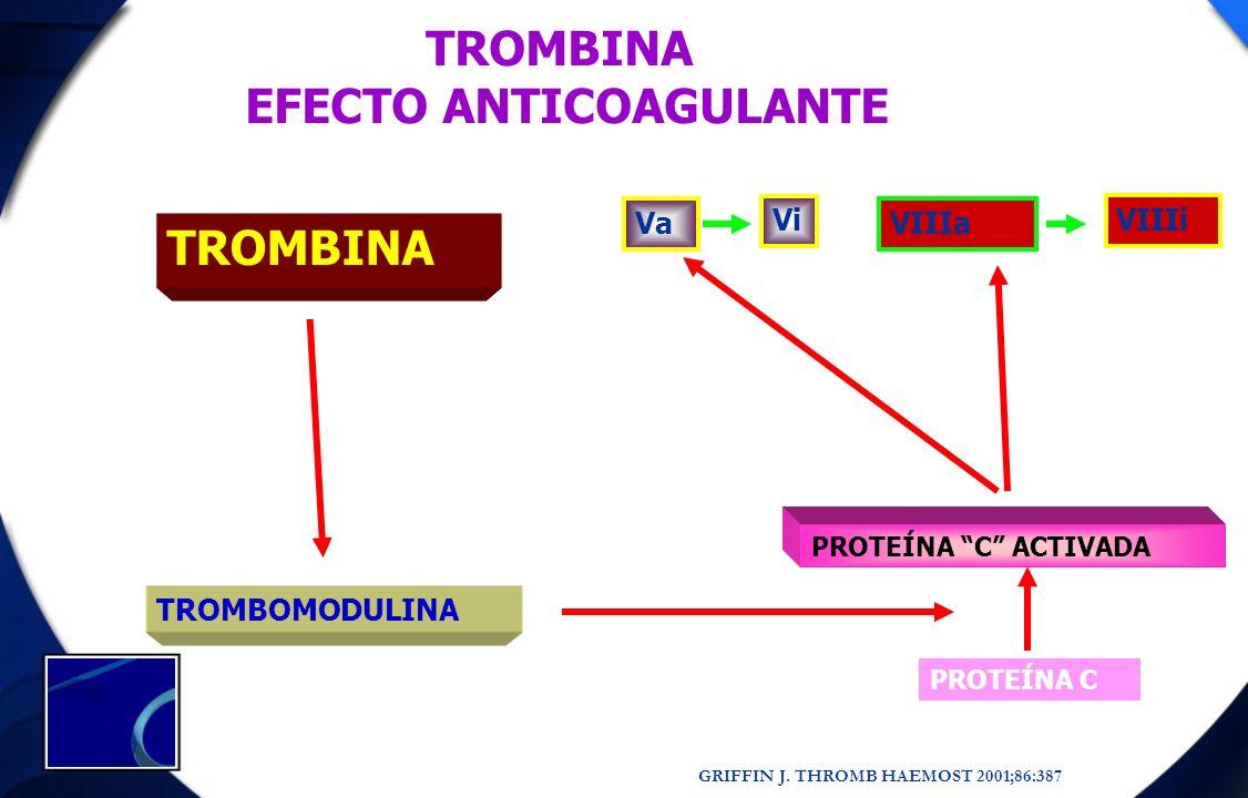 TROMBINA TROMBOMODULINA PROTEÍNA C PROTEÍNA C ACTIVADA Va Vi VIIIa VIIIi TROMBINA EFECTO ANTICOAGULANTE GRIFFIN J. THROMB HAEMOST 2001;86:387