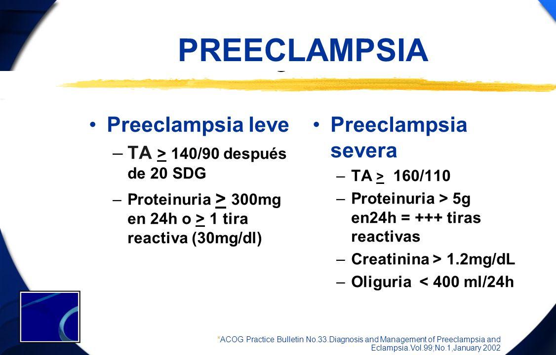 PREECLAMPSIA Preeclampsia leve –TA > 140/90 después de 20 SDG –Proteinuria > 300mg en 24h o > 1 tira reactiva (30mg/dl) Preeclampsia severa –TA > 160/