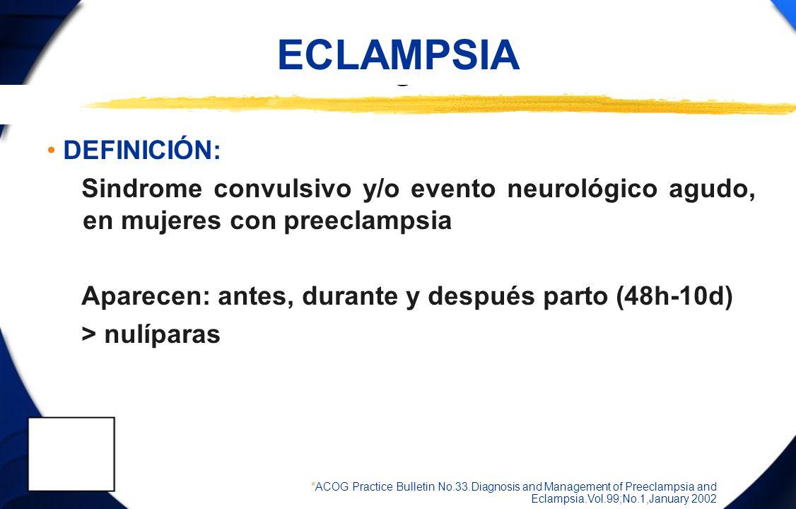 ECLAMPSIA COMPLICACIONES Desprendimiento placentario 10% Déficit neurológico 7% Neumonitis por aspiración 7% Edema pulmonar 5% Paro cardio-respiratorio 4% Insuficiencia renal aguda 4% Muerte fetal en 1% *ACOG Practice Bulletin No.33.Diagnosis and Management of Preeclampsia and Eclampsia.Vol.99;No.1,January 2002